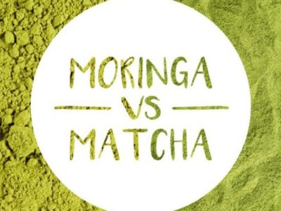 moringa vs. matcha concept on green background