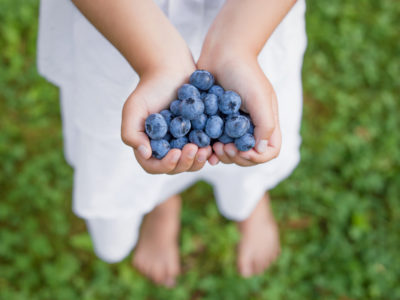 girl holding blueberries, a genius food, in the shape of a heart