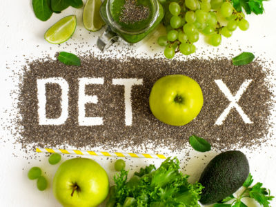 photo of Word detox is made from chia seeds, green smoothies and ingredients