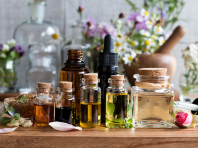 photo of essential oils on table