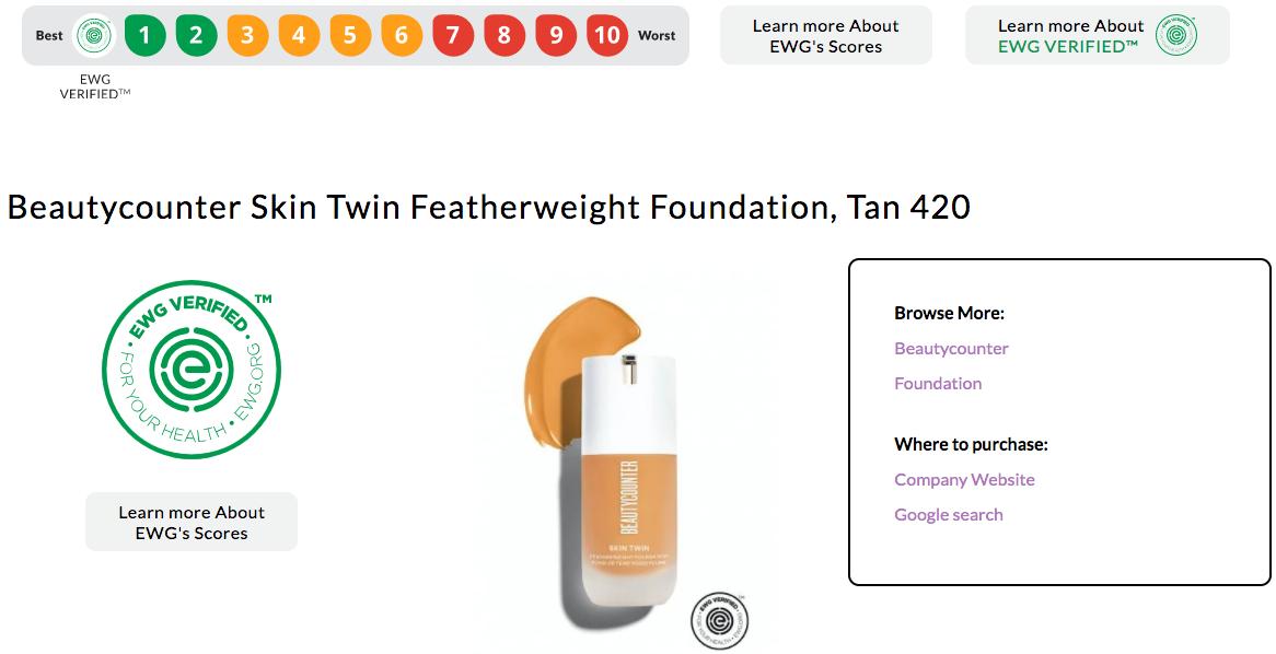 screenshot of Beautycounter foundation product detail in EWG Skin Deep Database