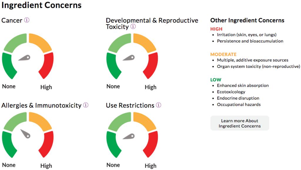 screenshot of Beautycounter foundation ingredient concerns in EWG Skin Deep Database