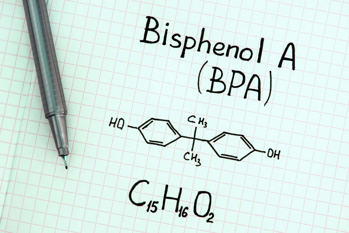 written chemical formula bisphenola BPA with pen | plastic utensils | plastic serving utensils | plastic cooking utensils