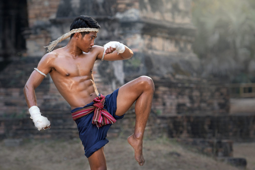 photo of a muay thai fighter training