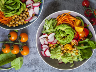 photo of a colorful raw food bowl