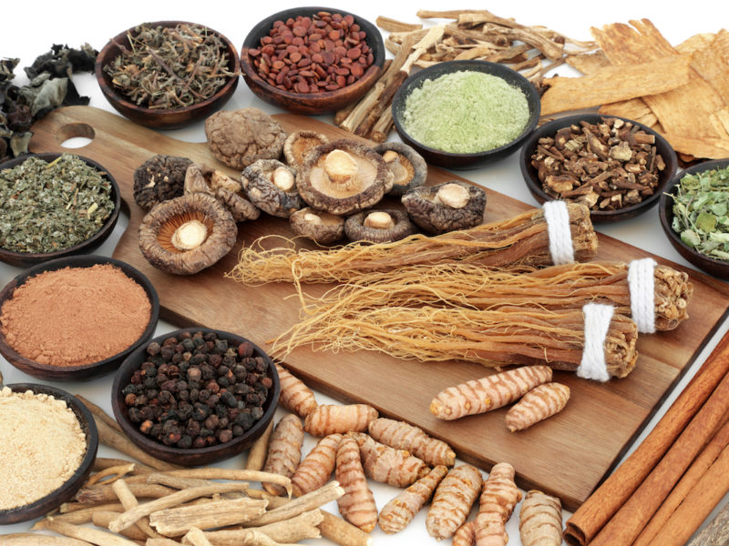 Adaptogen food assortment with herbs, spices and supplement powders. Used in herbal medicine to help the body resist the damaging effect of stress and restore normal physiological functioning